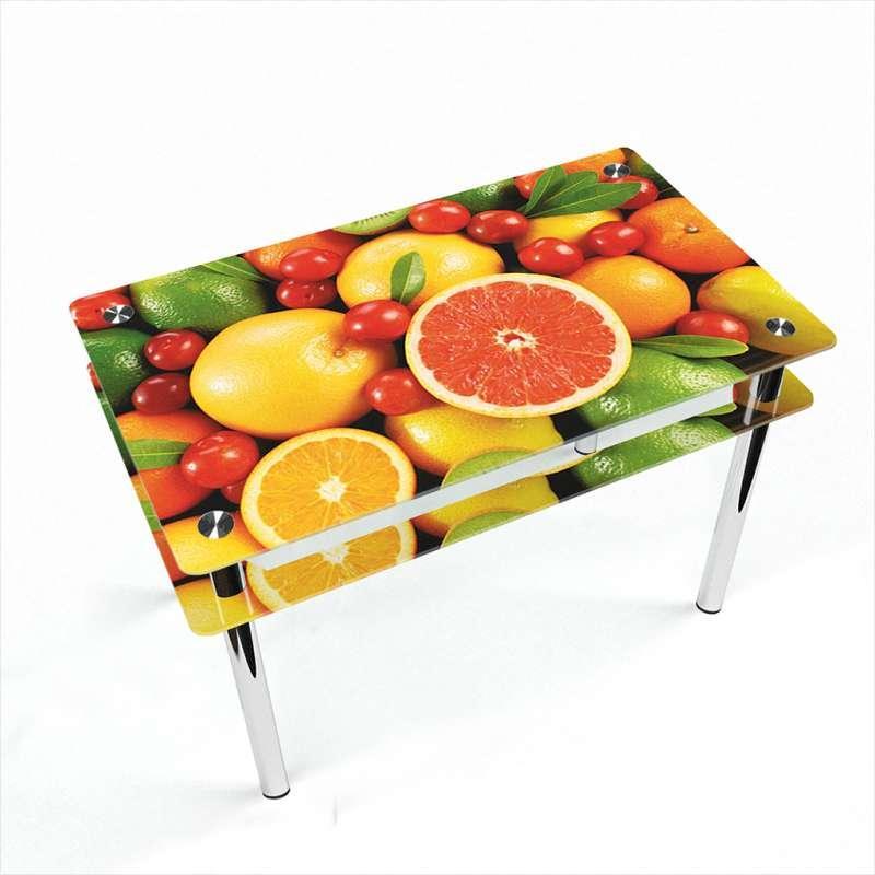 Стіл кухонний скляний Прямокутний проходить полицею Fruit 91х61 *Еко (БЦ-стіл ТМ)