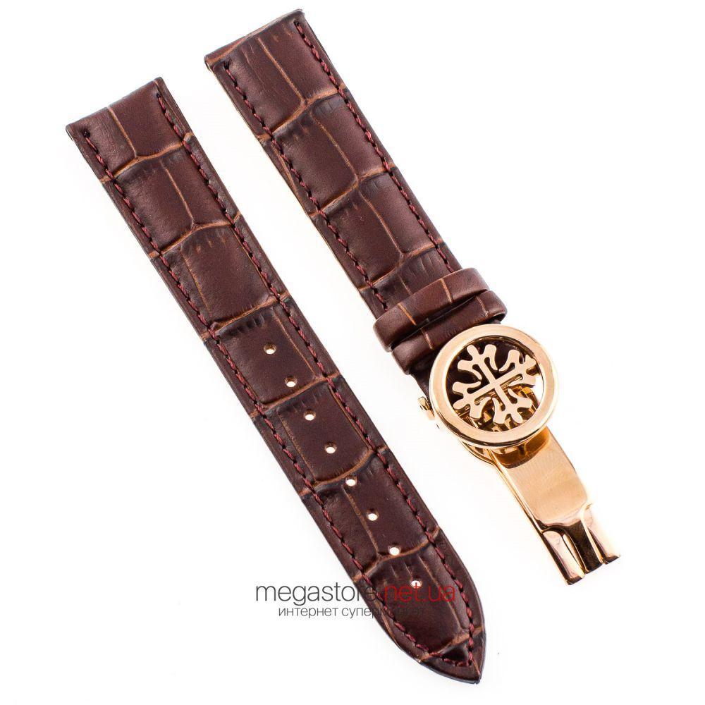 Шкіряний ремінець для годинника Patek Philippe sky moon коричневий із золотою застібкою 20мм|22мм|24мм (08019)