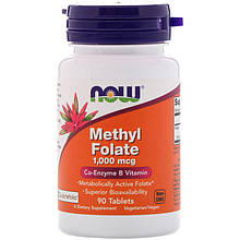 "Метилфолат NOW Foods ""Methyl Folate"" коэнзимный витамин В9, 1000 мкг (90 таблеток)"