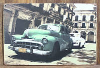Ретро табличка металлический постер Retro car green