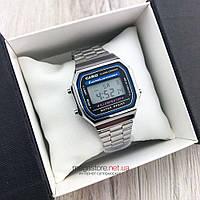 Мужские наручные Часы Casio A168 серебро реплика (08101)