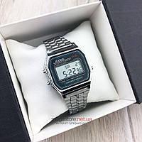 Мужские наручные Часы Casio A159W серебро реплика (08104)