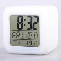Настольные декоративные электронные часы с 7-ми цветной переливающейся подсветкой