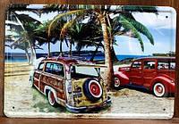 Ретро табличка металлический постер On the beach