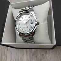 Женские наручные копия часы Rolex perpetual date just серебро с серебрянным циферблатом