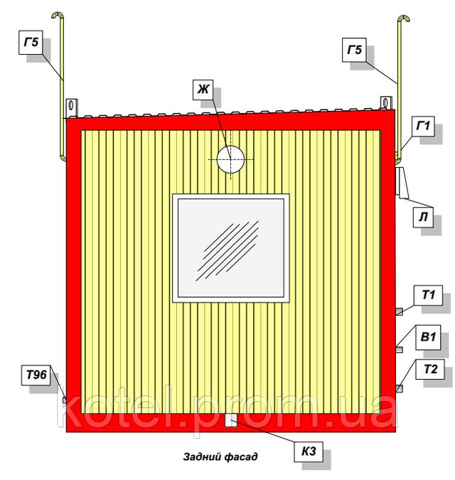 Задний фасад котельной КМ-2-300 с котлами Колви КТН 1.100 СЕТ