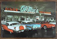 Ретро табличка металлический постер Diner Restaurant