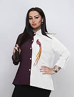 Двухцветная женская рубашка супер батал, фото 1