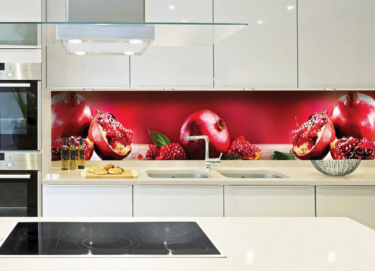Кухонный фартук Спелый гранат (фотопечать, фрукты, красный фартук, гранаты, зерна граната, пленка для кухни)600*2500 мм