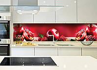 Кухонный фартук Спелый гранат (фотопечать, фрукты, красный фартук, гранаты, зерна граната, пленка для кухни)600*2500 мм, фото 1