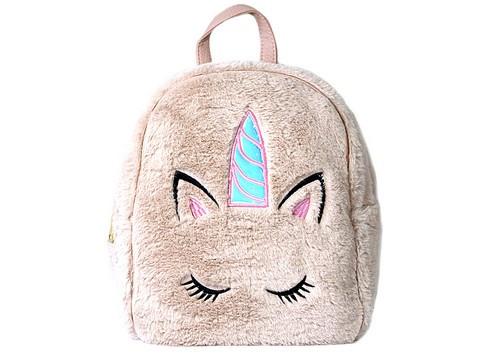 Рюкзак подростковый для девочки Kidis, меховый, единорог(роз.,темн.роз.,беж.)