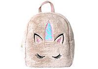 Рюкзак подростковый для девочки Kidis, меховый, единорог(роз.,темн.роз.,беж.), фото 1