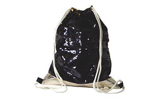 Сумка для взуття Kidis 13793 для дівчинки золотисте PU + паєтки чорн./зол., 42*32 см