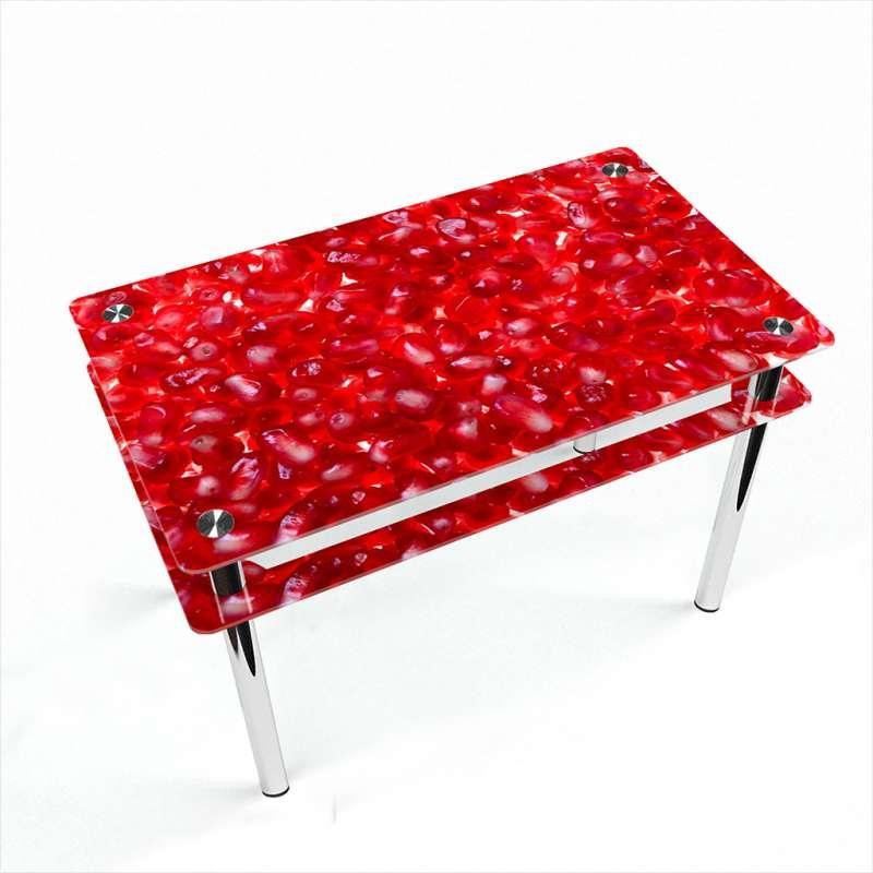 Стол кухонный стеклянный Прямоугольный с проходящей полкой Garnet 91х61 *Эко (БЦ-стол ТМ)