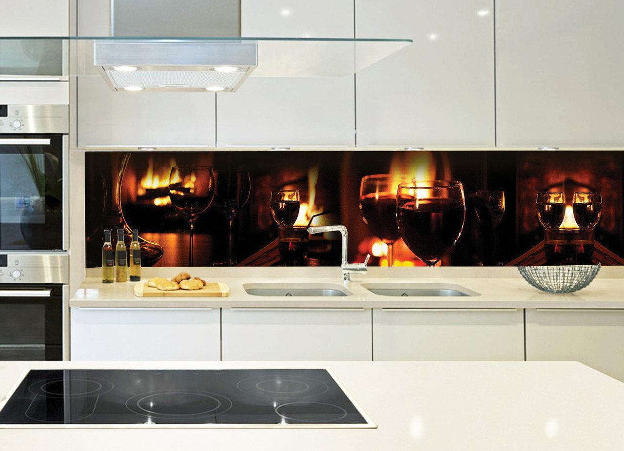 Кухонный фартук Бокалы (стаканы, вино, огонь, очаг, виниловые наклейки, фотопечать для кухни пленка для кухни)600*2500 мм