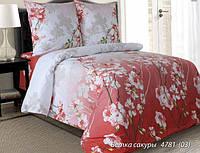 Ткань для постельного белья, бязь набивная, ВЕТКА САКУРЫ розовая