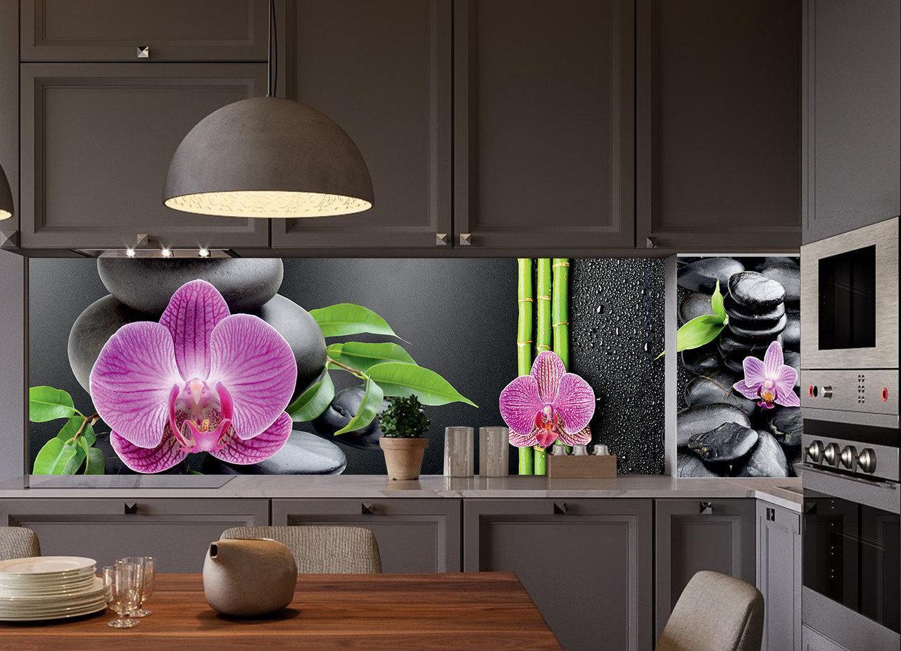 Кухонный фартук Гармония (виниловая наклейка на кухонную панель, орхидеи, черные камни, бамбук)600*2500 мм