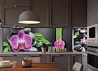 Кухонный фартук Гармон (виниловая наклейка на кухонную панель, декор для кухни, орхидеи, черные камни, бамбук) 600*2500 мм