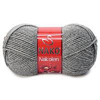 Пряжа Nako Nakolen 194 серый (нитки для вязания Нако Наколен) полушерсть 49% шерсть, 51% акрил