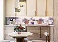 Кухонный фартук Лаванда и Кофе (скинали фотопечать, наклейки для кухни, стиль прованс, пленка самоклеющаяся) 600*2500 мм