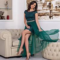 """Платье изумрудного цвета вечернее гипюровое трансформер """"Империя лайт"""""""