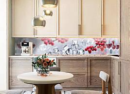 Кухонный фартук Рябина и лед 3Д виниловые наклейки на кухню фотопечать скинали красные ягоды кубики льда