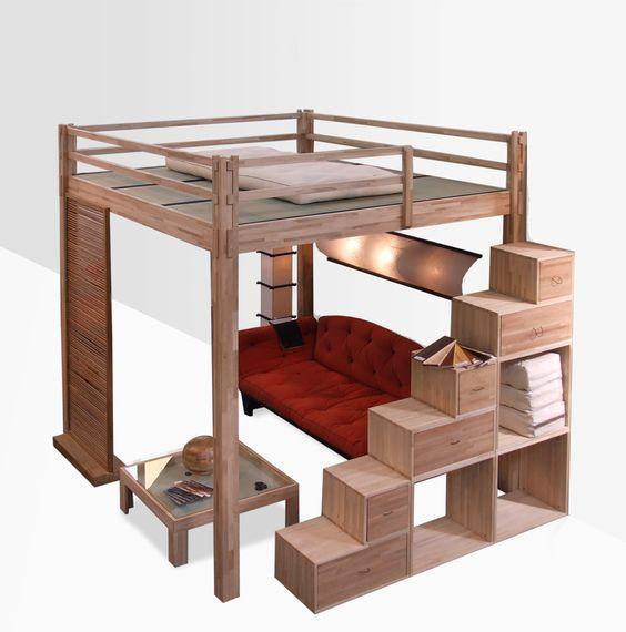 Двухьярусная кровать в стиле LOFT (Bed - 034)