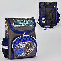 """Детский школьный рюкзак ортопедический 35х25х18см """"МОТОБАЙК"""". Портфель, каркасный ранец для мальчиков МОТОЦИКЛ"""