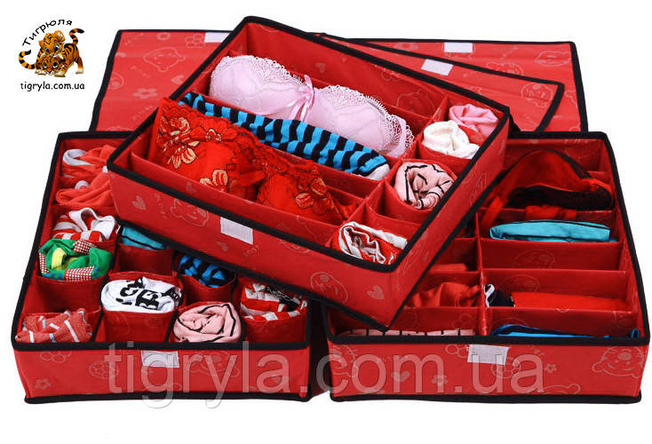 Набор органайзеров с крышкой из 3х штук, кофры для вещей с крышкой