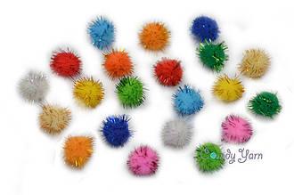 Помпоны плюшевые с люрексом для творчества 2 см, цвета