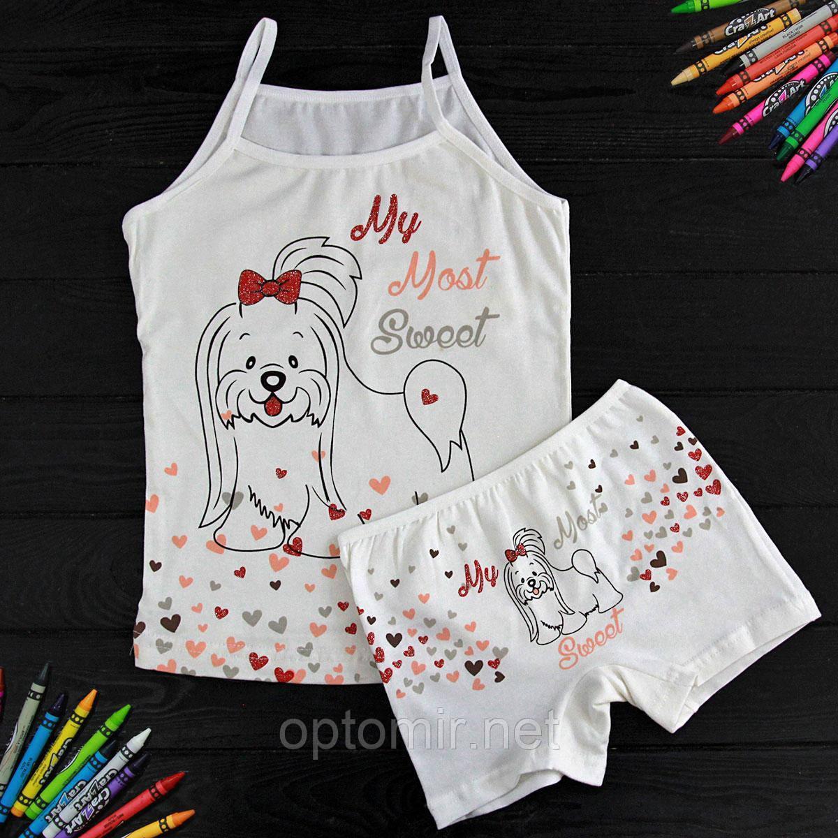 Комплект детский Donella с собачкой белыйдля девочки на 4/5 лет(шортики) | 1шт.