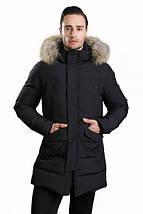 Удлиненная мужская зимняя куртка Hermzi темно-синяя 48-58 р, фото 2