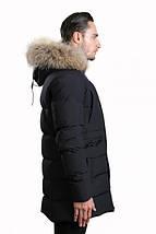 Удлиненная мужская зимняя куртка Hermzi темно-синяя 48-58 р, фото 3