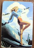 Ретро табличка металлический постер The lady on the plane