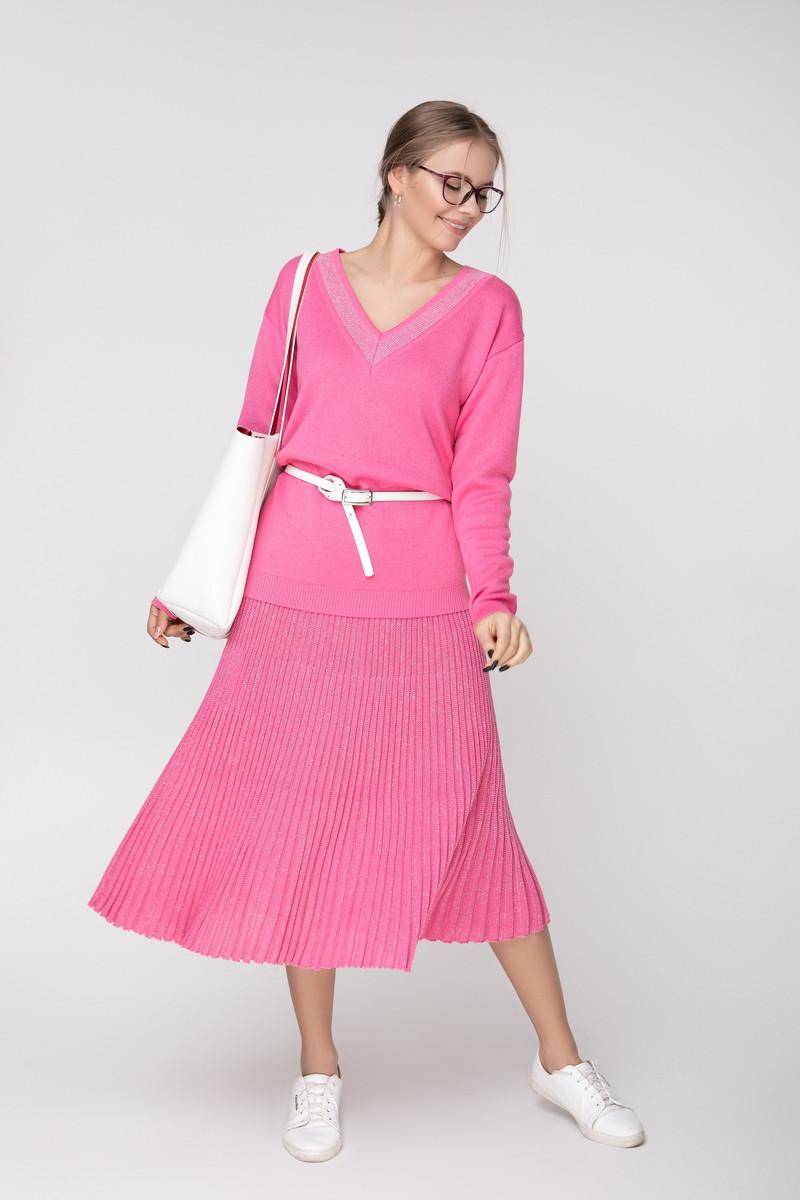 Женская плиссированная юбка миди в складку ниже колена
