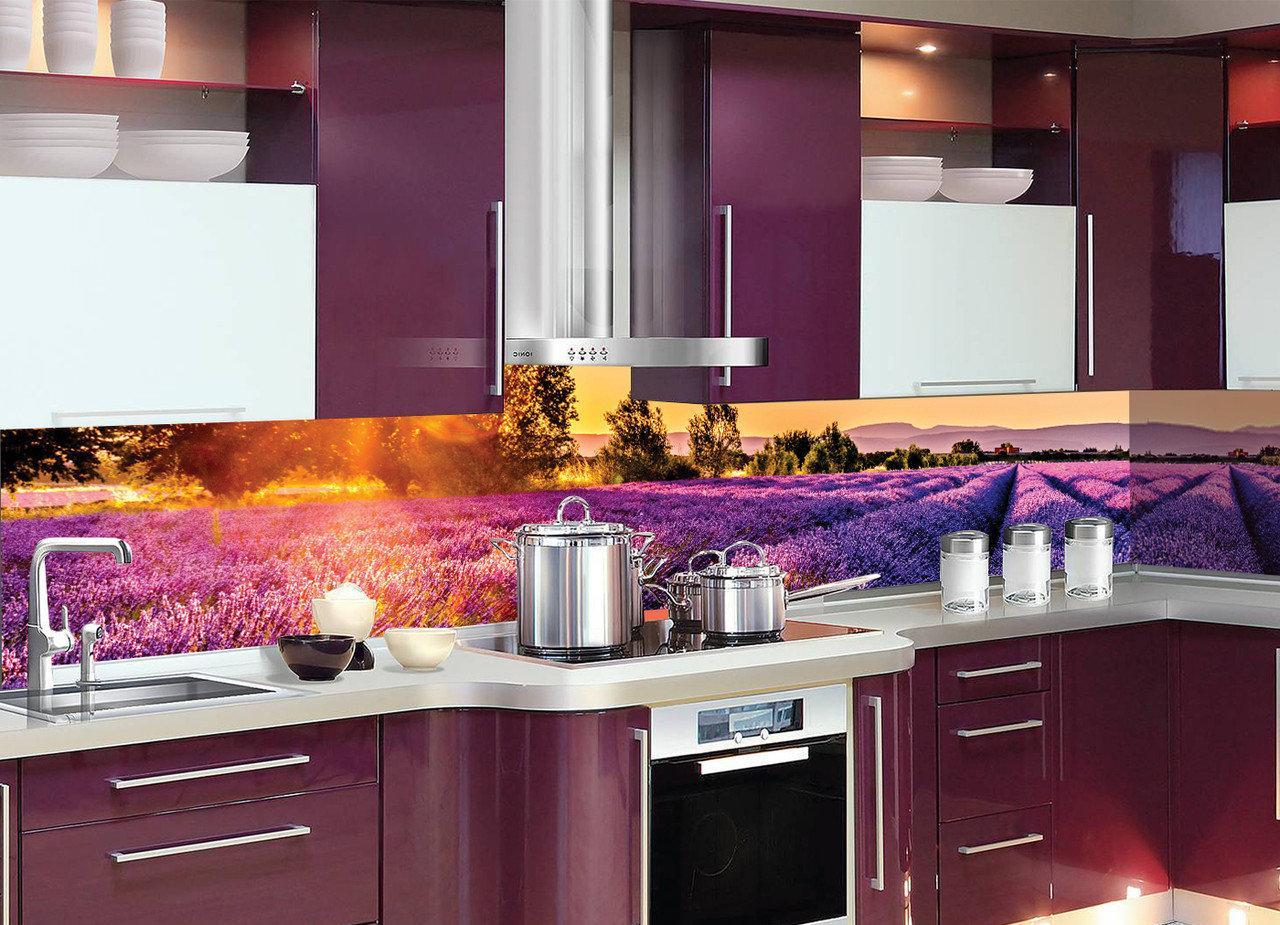 Кухонный фартук Лавандовые поля (виниловые наклейки для кухни, скинали Лаванда Прованс, кухонный декор)600*2500 мм