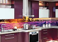 Кухонный фартук Лавандовые поля (виниловые наклейки для кухни, скинали Лаванда Прованс, кухонный декор)600*2500 мм, фото 1
