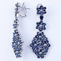 Серьги серебряные сапфир синий натуральный