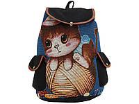 Рюкзак пляжный TH3-1 котенок с клубком синий