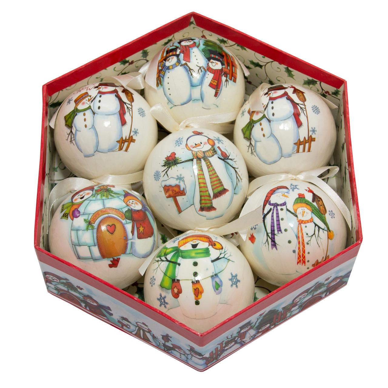 Набор елочных игрушек - шары, 7 шт, D7,5 см, белый, рисунок снеговики, пенопласт (420025-1)