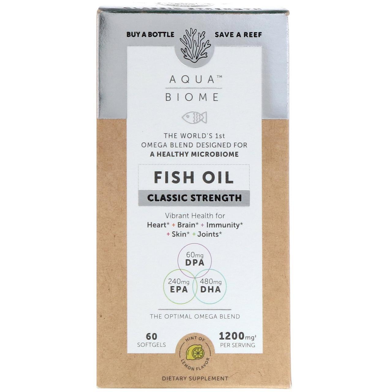 """Рыбий жир """"Аква биом - классическая сила"""" от Enzymedica, лимонный вкус, 60 гелевых капсул"""