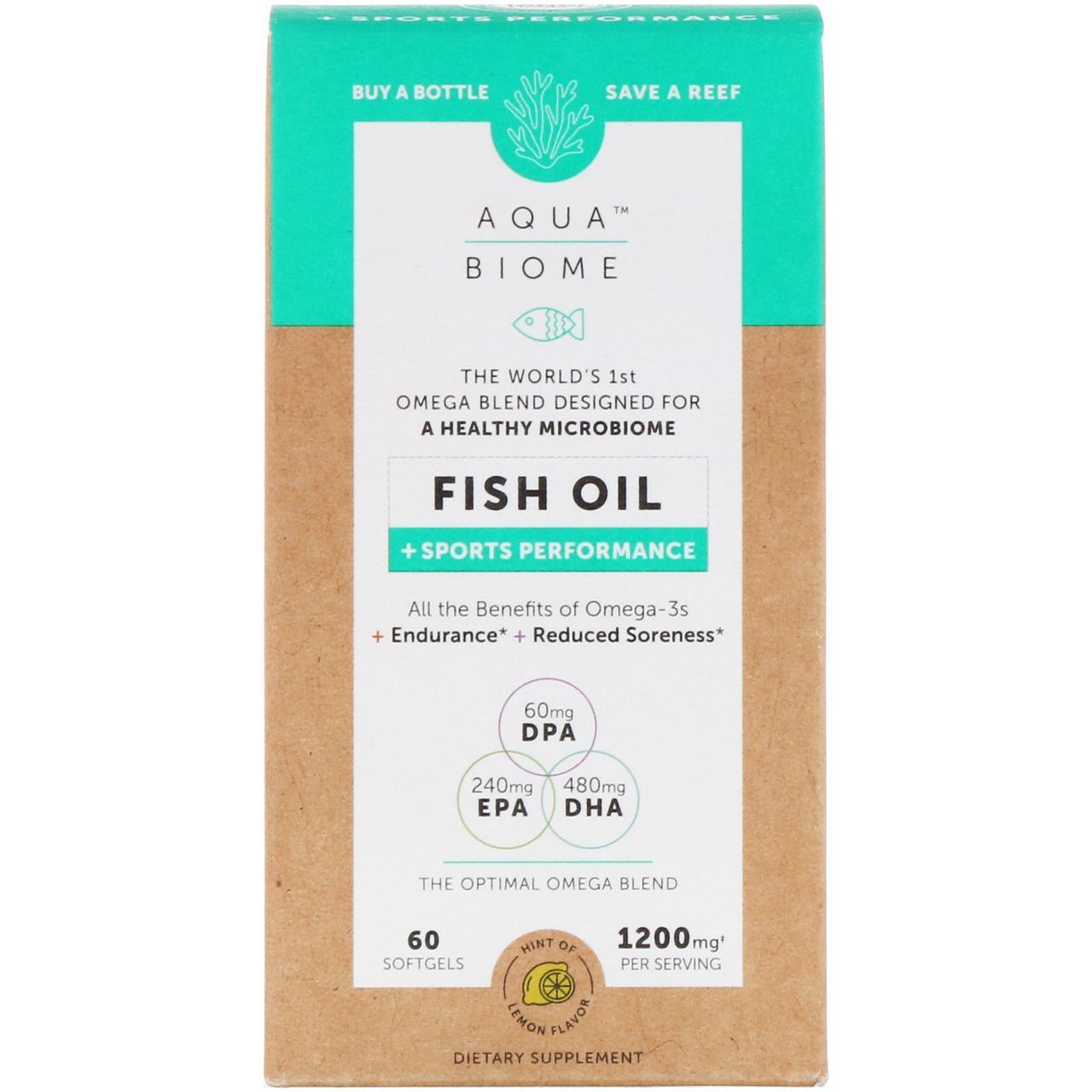 "Рыбий жир ""Аква биом"" от Enzymedica, лимонный вкус, 60 мягких таблеток"
