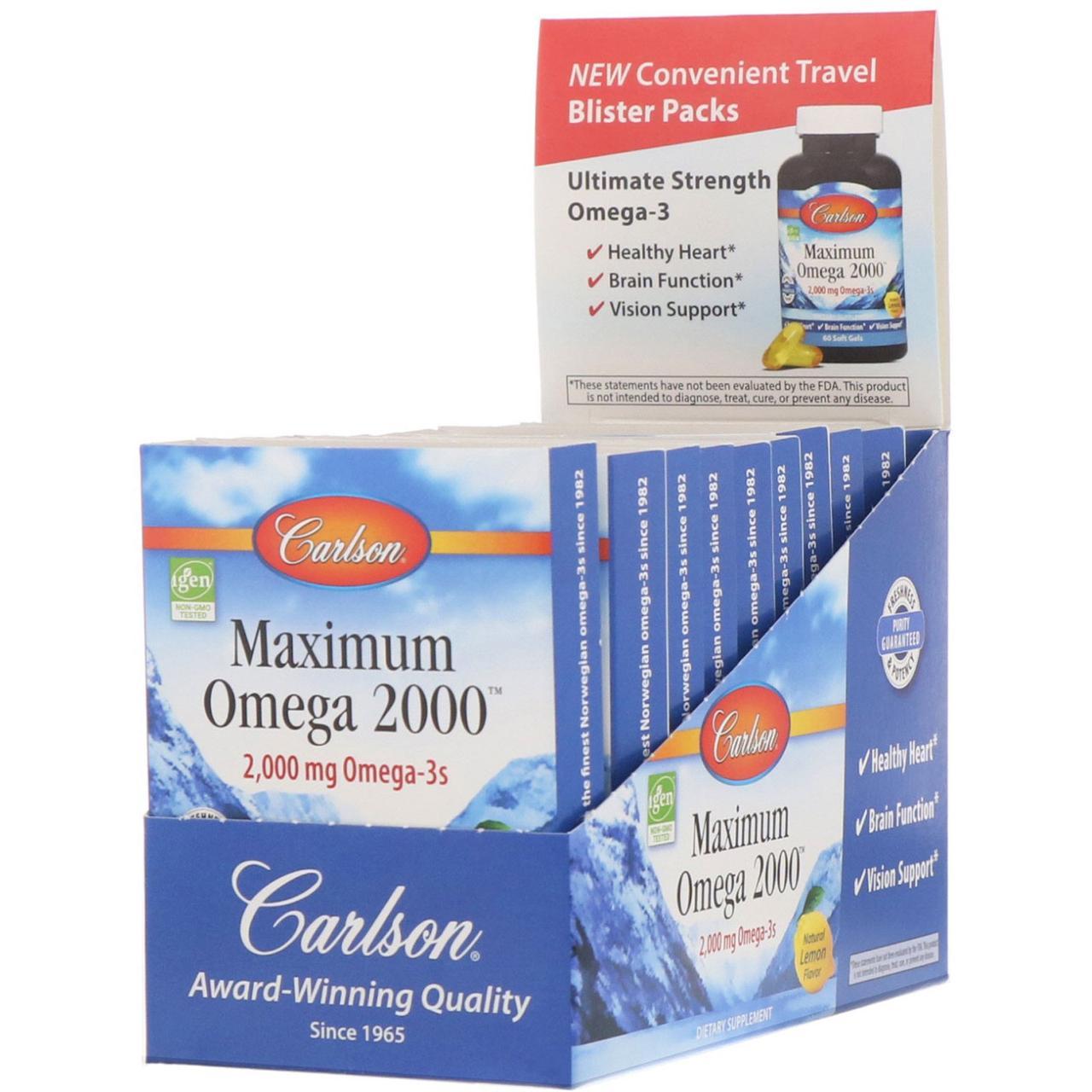 """Омега-3 """"Максимум Омега 2000"""" от Carlson Labs, вкус лимона, 2.000 мг, 10 упаковок по 10 мягких капсул"""