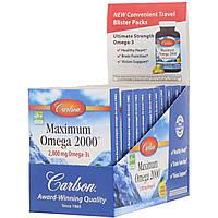 """Омега-3 """"Максимум Омега 2000"""" от Carlson Labs, вкус лимона, 2.000 мг, 10 упаковок по 10 мягких капсул, фото 1"""