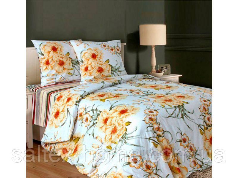 Ткань для постельного белья, бязь набивная, ЛИЛЕЯ желтый