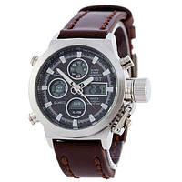Мужские наручные часы AMST Silver-Black Brown Wristband. Копии брендовых часов