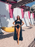 Черная пляжная накидка со вставками кружева