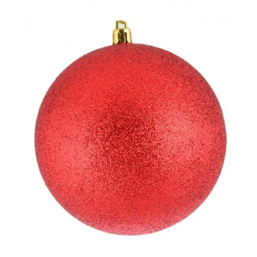 Куля ,d - 10 см,червоний гліттер