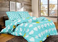 Двуспальный комплект постельного белья из натуральной ткани голубого цвета