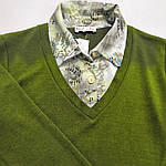 Светр сорочка теплий зелений трикотаж 221291 джемпер, фото 5